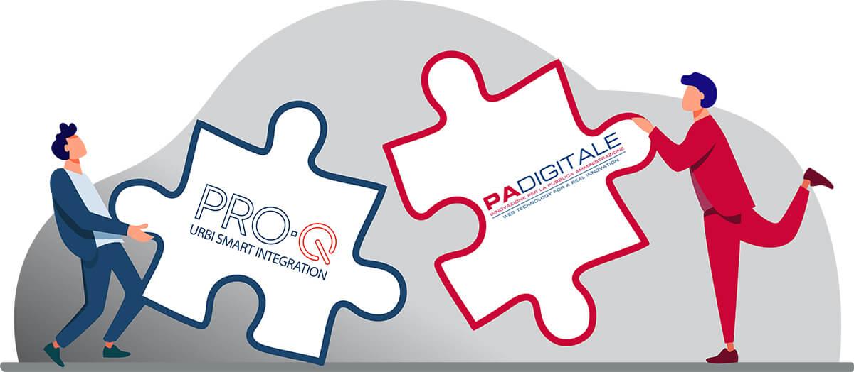 PRO-Q assieme ad URBI SMART di PA Digitale per fornire un servizio completo e integrato a tutte le Pubbliche Amministrazioni.